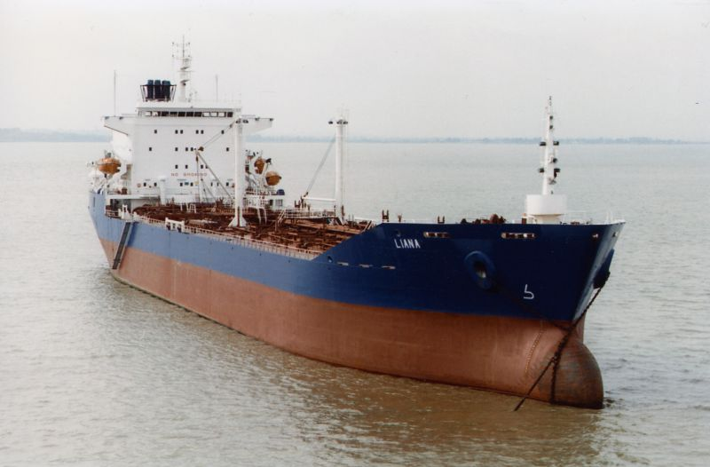 LIANA at anchor in River Blackwater. She was laid up 3 July 1984 to 3 October 1984. Date: cAugust 1984.