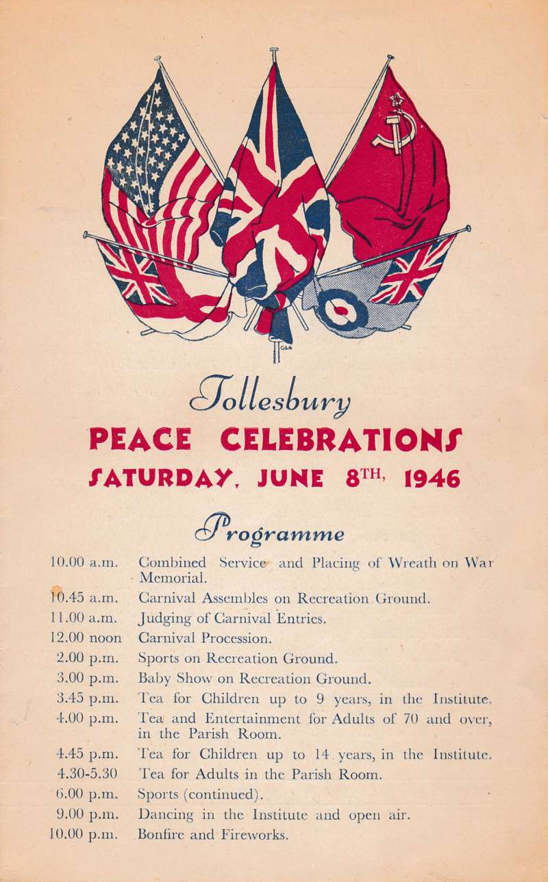 Tollesbury Peace Celebrations. Programme. 