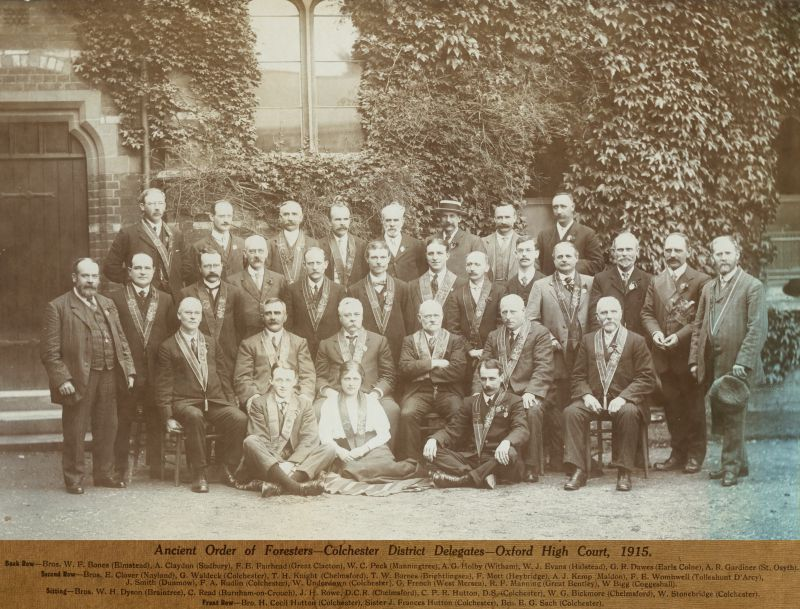 Ancient Order of Foresters - Colchester District Delegates - Oxford High Court, 1915, held at a college in Oxford.