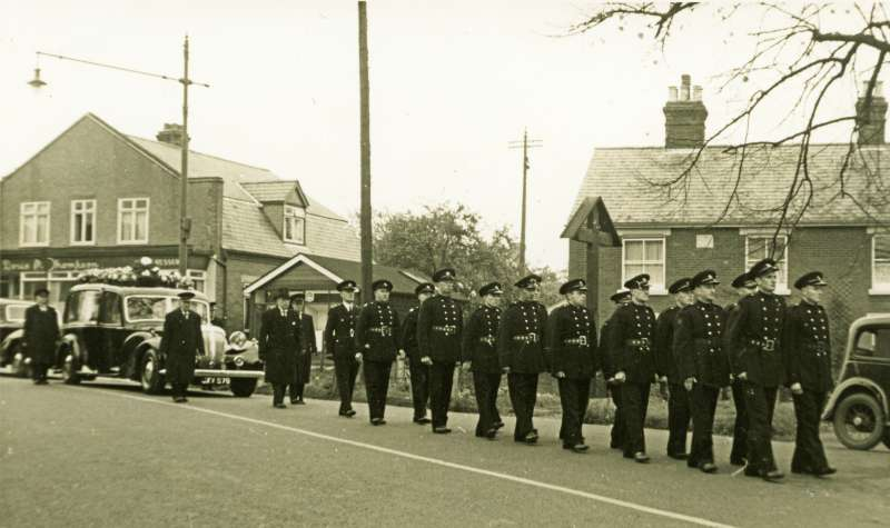The Fire Brigade parade at the funeral of Gordon Mussett at West Mersea.
