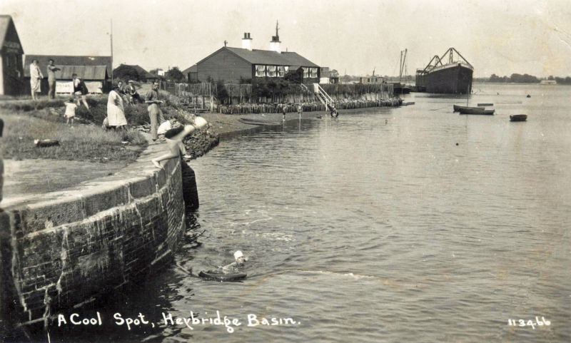 A cool spot, Heybridge Basin. Postcard 113466.