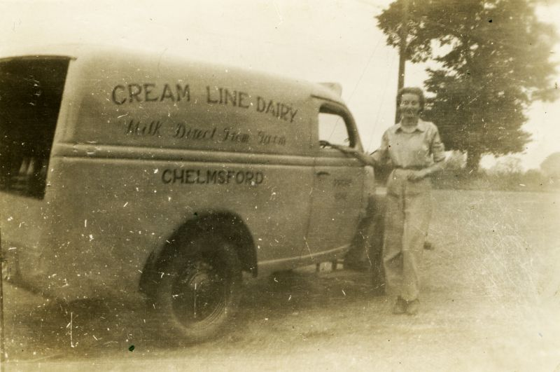 Margaret Penfold drove a milk delivery van in the Halstead area while in the Women's Land Army. Cream Line Dairy, Chelmsford.