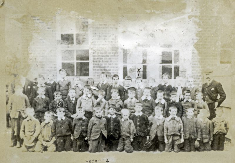 West Mersea School Group 4 approx 1902. Mr John Thorp was Headmaster at this time - Mr W. Woods, the other teacher, was killed when playing football. He was accidentally kicked in the head.
