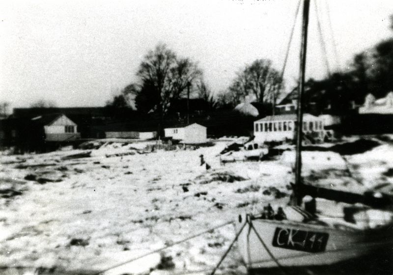 'Duke' Mussett's oyster sheds along Coast Road, in the hard winter of 1962/63.