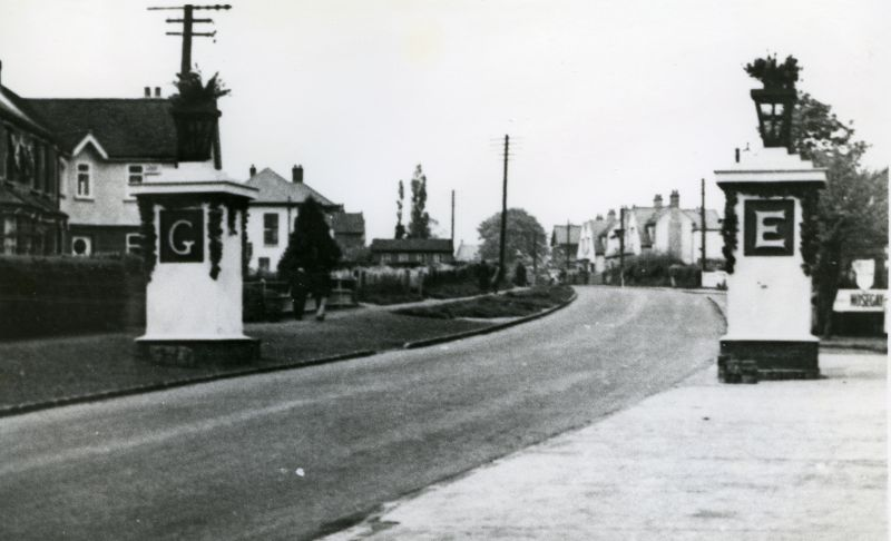 Kingsland Road decorated for King George VI Coronation. Decorative Pylons by Mr Horace Martin.