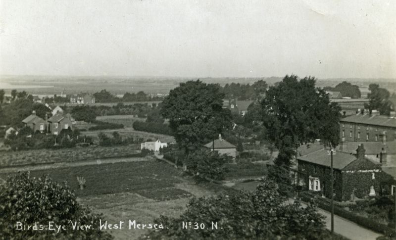 Birds Eye View, West Mersea. Postcard No.30. Taken from the Church Tower looking northwest. Church Road is lower right.
