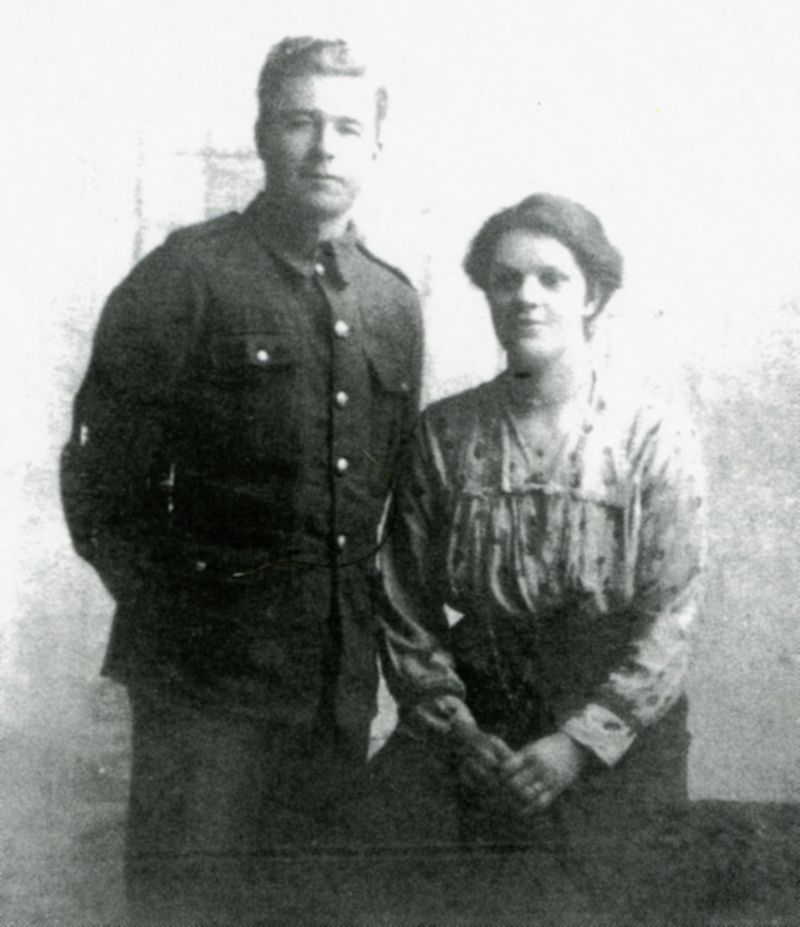 Rifleman Edward Oscar Green and his wife. Edward was killed in Ypres 24 December 1917. He is commemorated on Tyne Cot Memorial near Ypres, and on West Mersea War Memorial. 