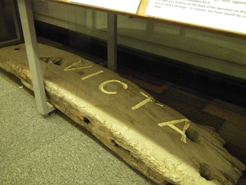 Bow rail of sailing barge VICTA in Mersea Museum. Official No. 67085 built Rochester 1874 and formerly named &CO. She ended her days as a houseboat alongside the Strood. 