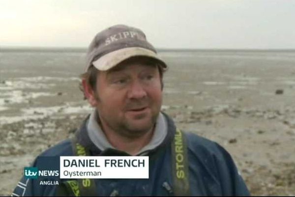 Mersea oysterman Daniel French speaking on Anglia TV News, 15 February 2017. Daniel found timbers in the mud off Coopers Beach, East Mersea. They are believed to be part of a Bronze Age walkway across the marshes. A little while earlier, Daniel found a skull that has been dated to the Iron Age 290 - 350 BC. 