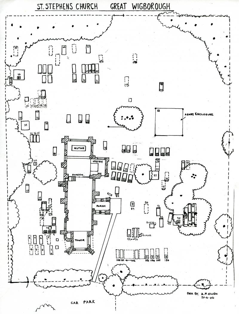 St Stephens Church, Great Wigborough. Plan of church and graveyard drawn by A.P. Owen.