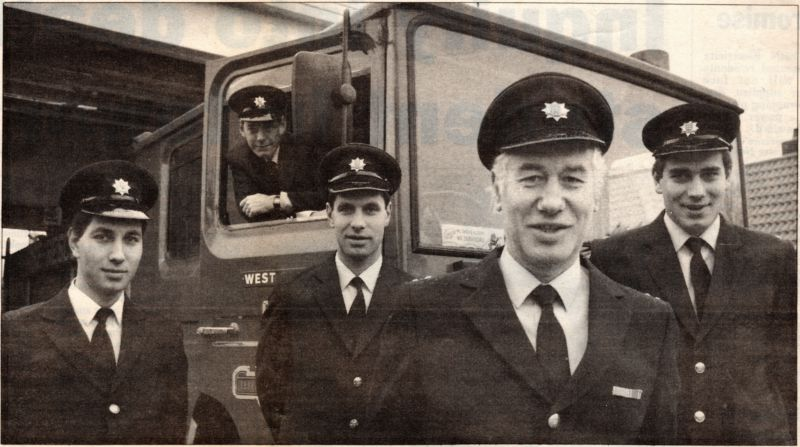 West Mersea Fire Engine. L-R front Gary Mussett, Chris Mussett, David 'Moe' Mussett and Jonathan Mussett, with son-in-law Mick Way in the cab.