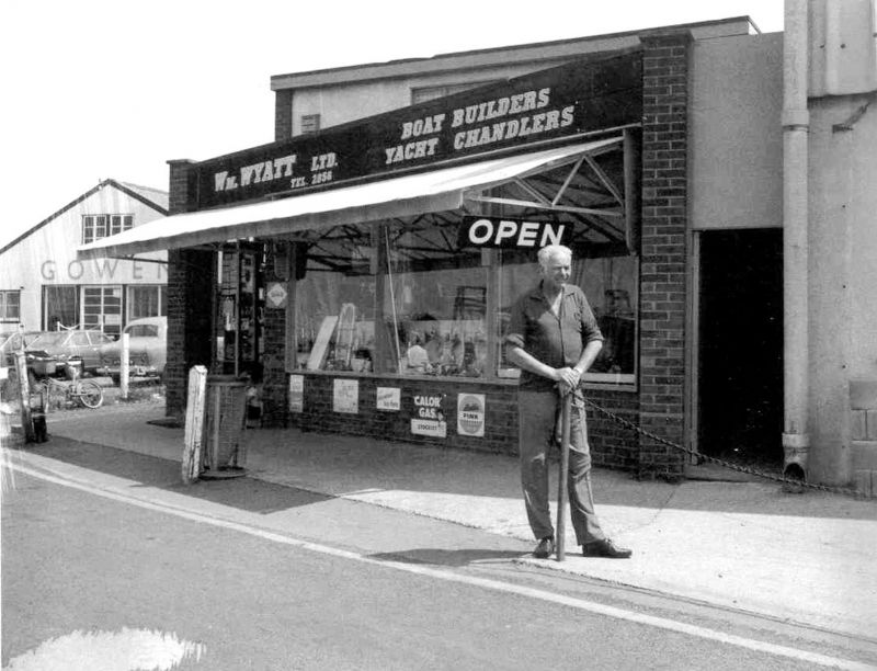 Harold Cutts outside chandlery shop of Wm Wyatt Ltd. 