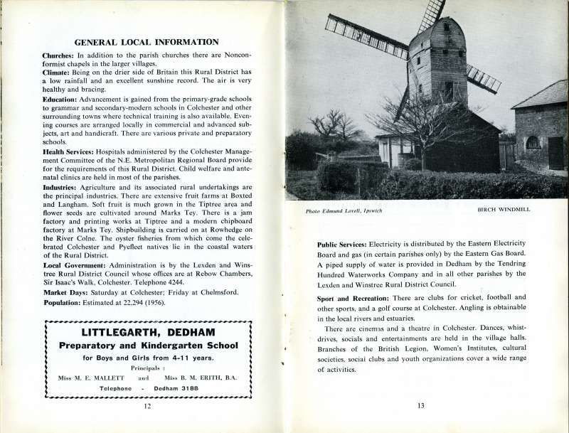 Lexden & Winstree Official Guide. Pages 12 and 13.