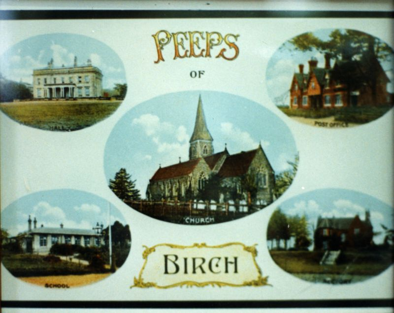 Peeps of Birch. Multiview postcard of Birch - the Hall, Church, School, Post Office and Rectory.