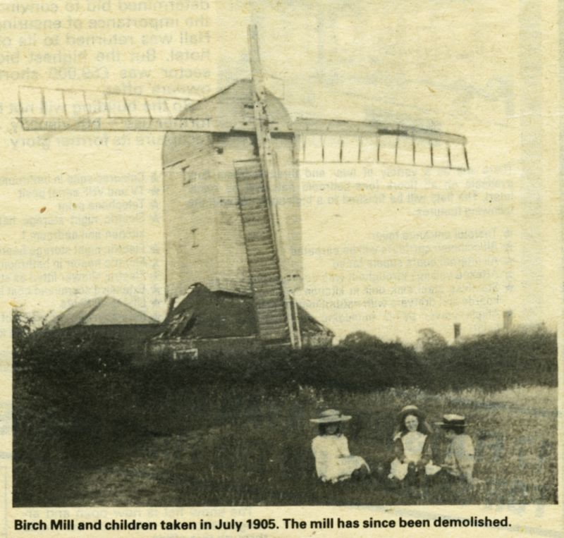 Birch Mill and children taken in July 1905. The mill has since been demolished.