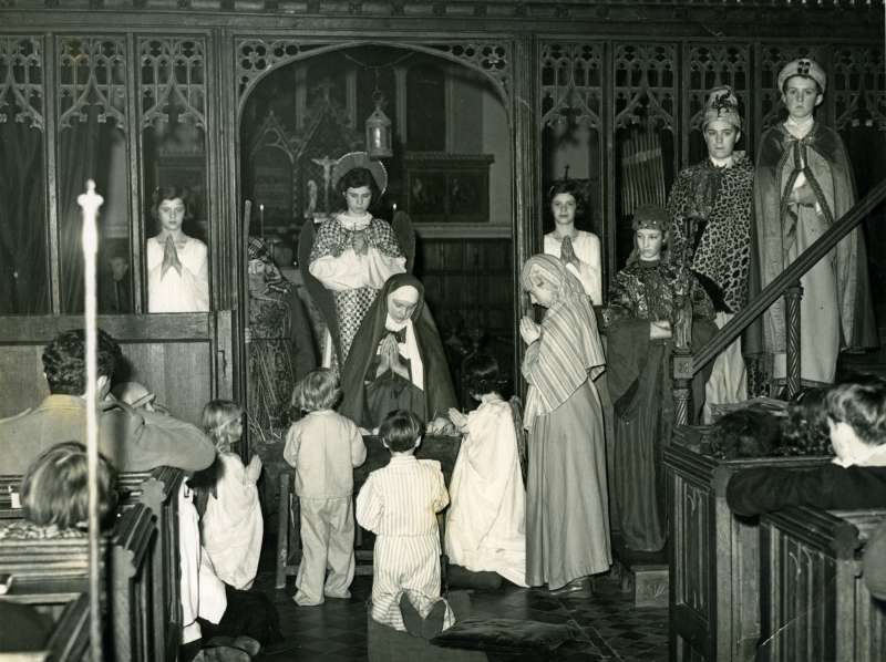 Nativity Play at Layer Marney Church. Probably 1950s