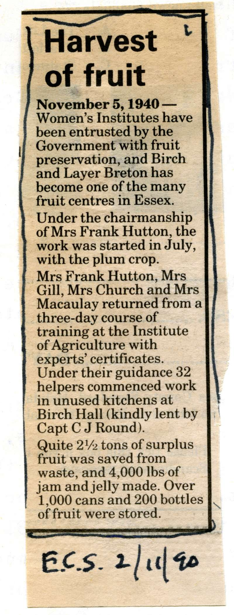 Harvest of Fruit. 