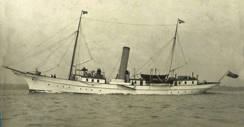 Steam Yacht ZAREFAH. The photograph was found in Dorothy Brown's papers and there is perhaps a connection back to her father Hartley Brown who served in minesweepers towards the end of WW1.