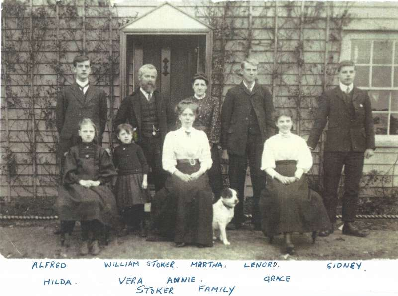 The Stoker family - a picture received by Andy Brown from Ken Stoker, son of Alfred. Ken is 91 in 2018. Andy thinks it is about 1910, which would give the following ages: