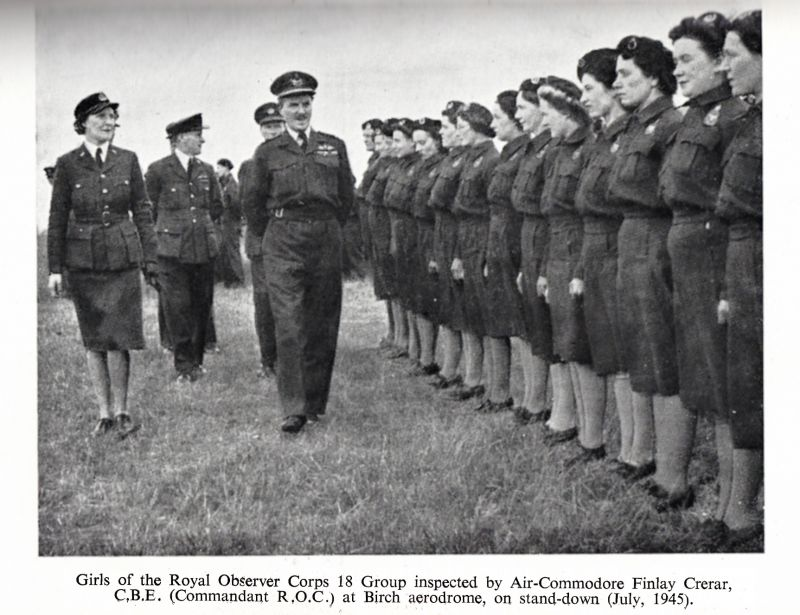 Girls of the Royal Observer Corps 18 group inspected by Air-Commodore Finlay Crerar, CBE (Commandant R.O.C.) at Birch aerodrome, on stand-down.