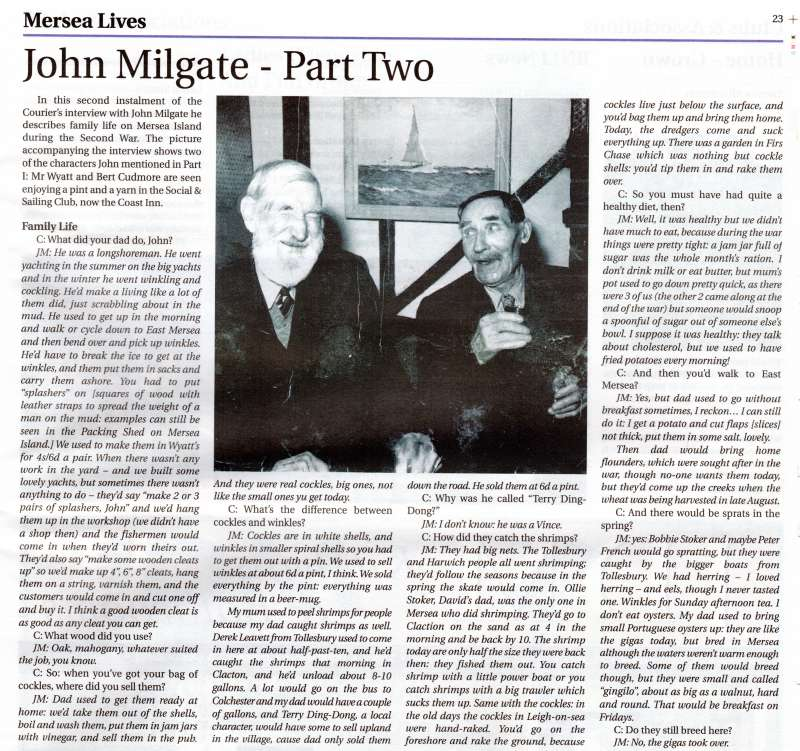 Mersea Lives. John Milgate Part Two