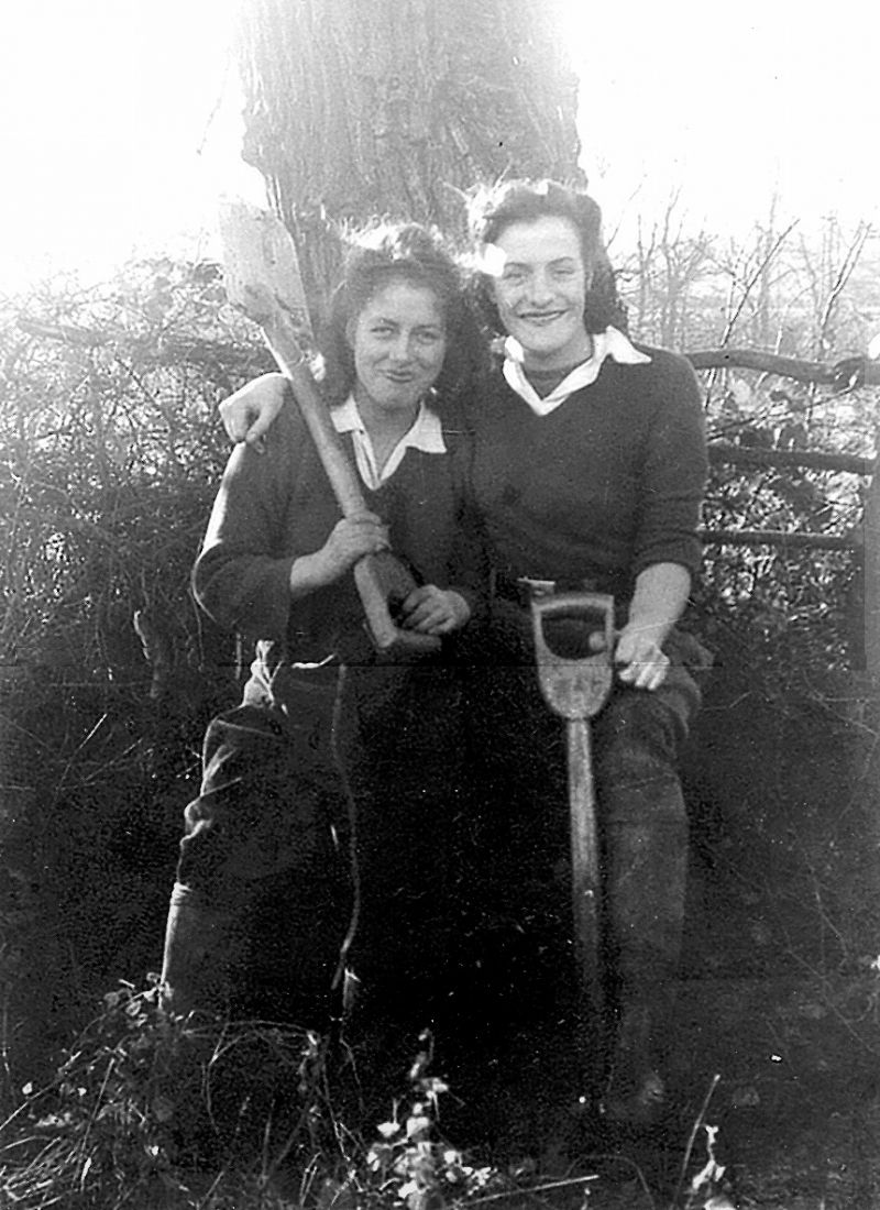 Mrs Doris Northwood (right) and Phylis Northwood (sister in law) - in the Women's Land Army in the Nazeing area. 