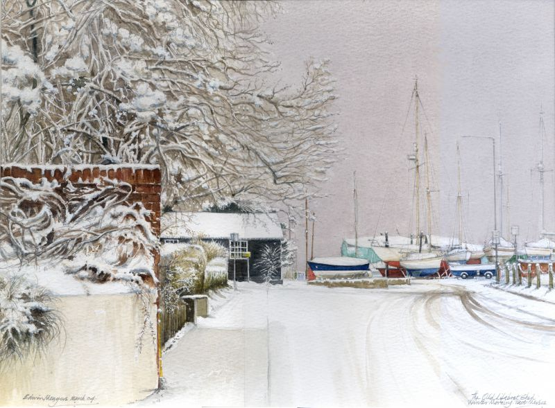 The Old Lifeboat Shed. Winter Moorings. Watercolour by Edwin Meayers.