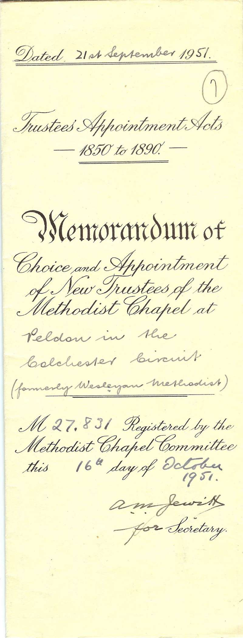 Peldon Methodist Chapel Appointment of Trustees. Title page. 
