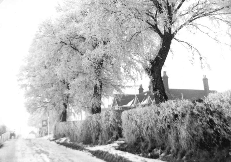 The hard winter of 1962 - 1963. Ice and snow on Coast Road by the Victory. 