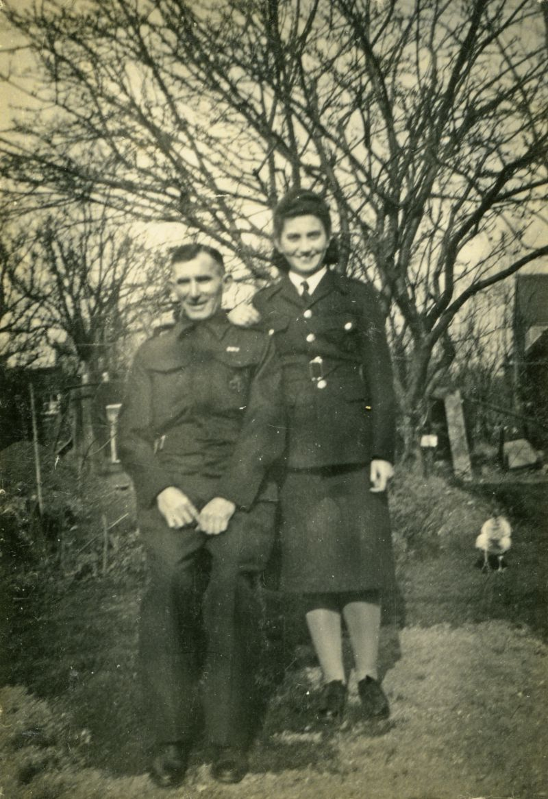 Ron Pullen on left, Joan Pullen on right. Ron in ARP uniform ? What is Joan's uniform ? She enrolled in the Women's Land Army May 1943. 