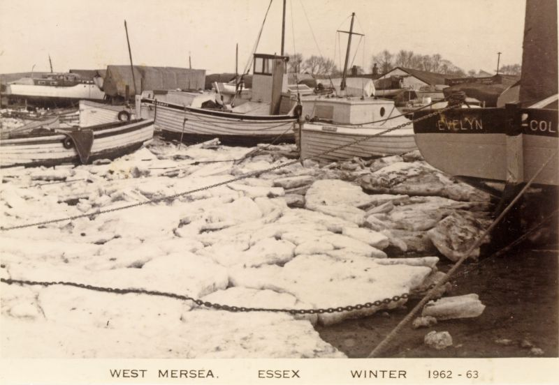 Boats in the ice at West Mersea Hard in the winter of 1963.