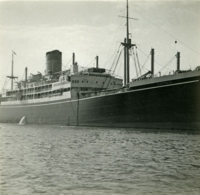 Liner GOTHIC laid up in River Blackwater. Photograph from Rue Pullen. Date: September 1954.