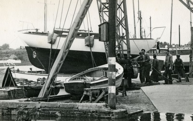 Launch of yacht JANMER at Colne Marine [Guy Harding], Wivenhoe. 