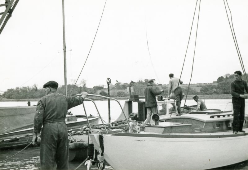 Launch of yacht JANMER, built for Norman Ward at Colne Marine [Guy Harding], Wivenhoe. 