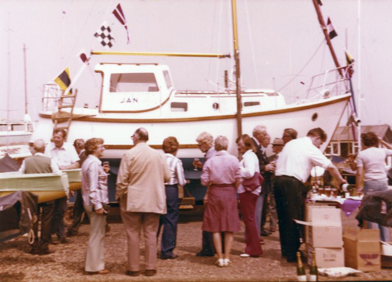 Launch of JAN, owned by Joan and Norman Ward at West Mersea.