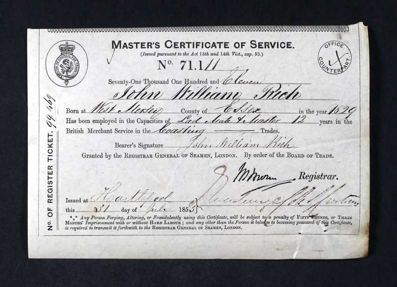 John Rich Master's Certificate of Service