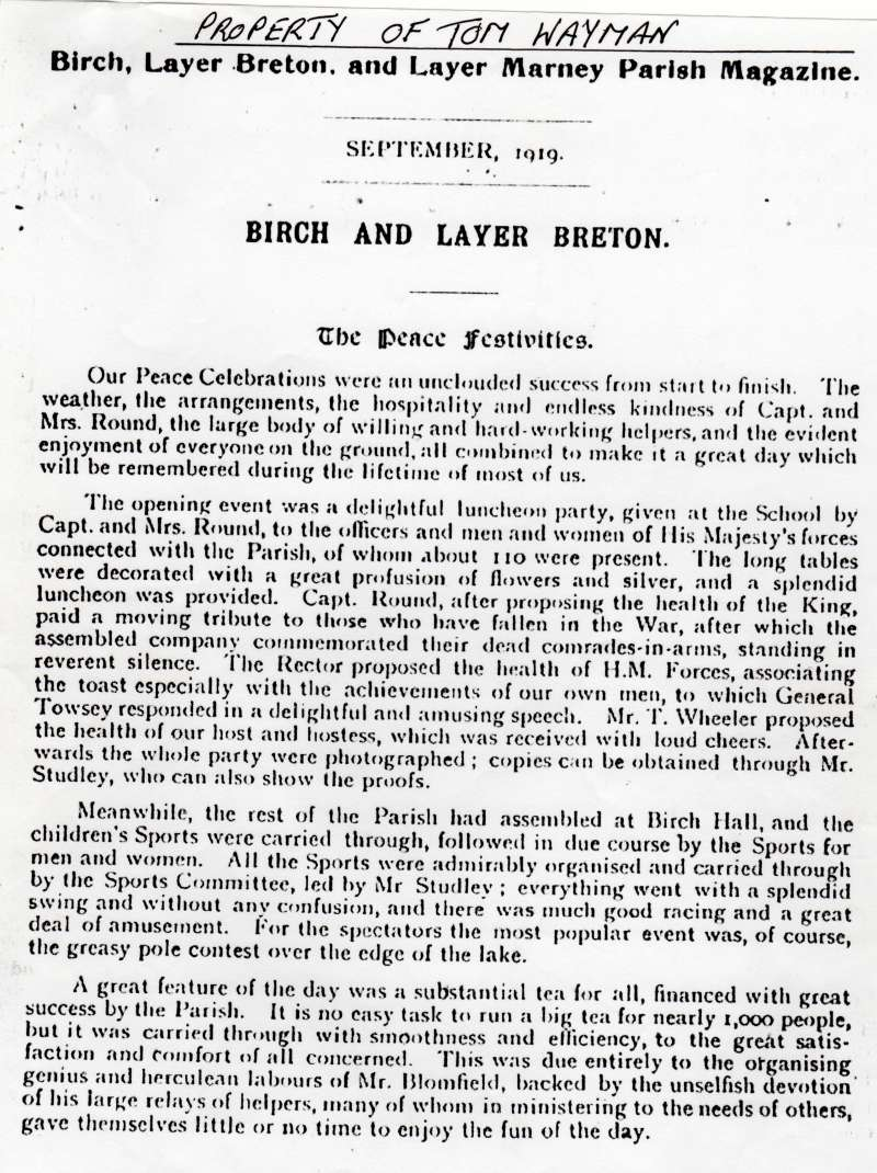 Birch and Layer Breton Parish Magazine - from Tom Wayman.