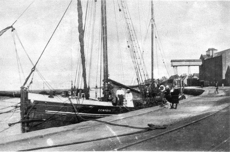 Ketch barge ZENOBIA at Wells, Norfolk about 1922-23 Capt. Billy Green, daughter Una & wife Daisie.
