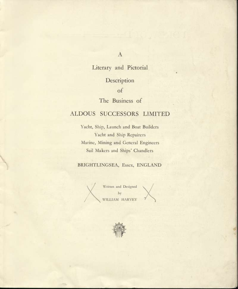Aldous Successors Ltd catalogue. Title page. 