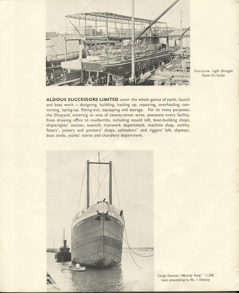 Aldous Successors Ltd catalogue --- page 10. Photos of vessel for the Sudan and MAINDY KEEP. 