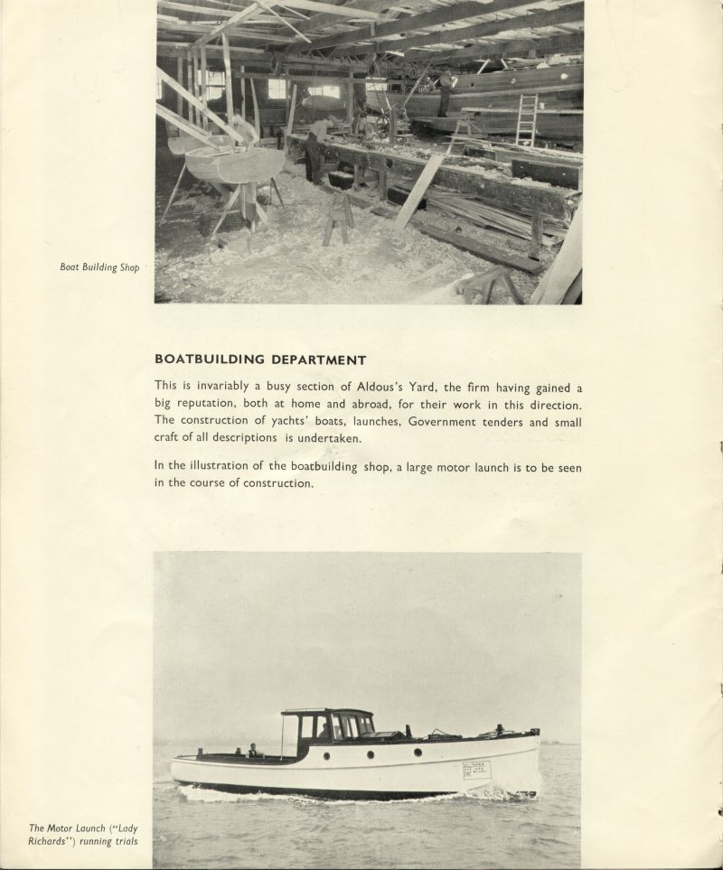 Aldous Successors Ltd catalogue --- page 18. Boatbuilding Department. Motor launch LADY RICHARDS on trials. 