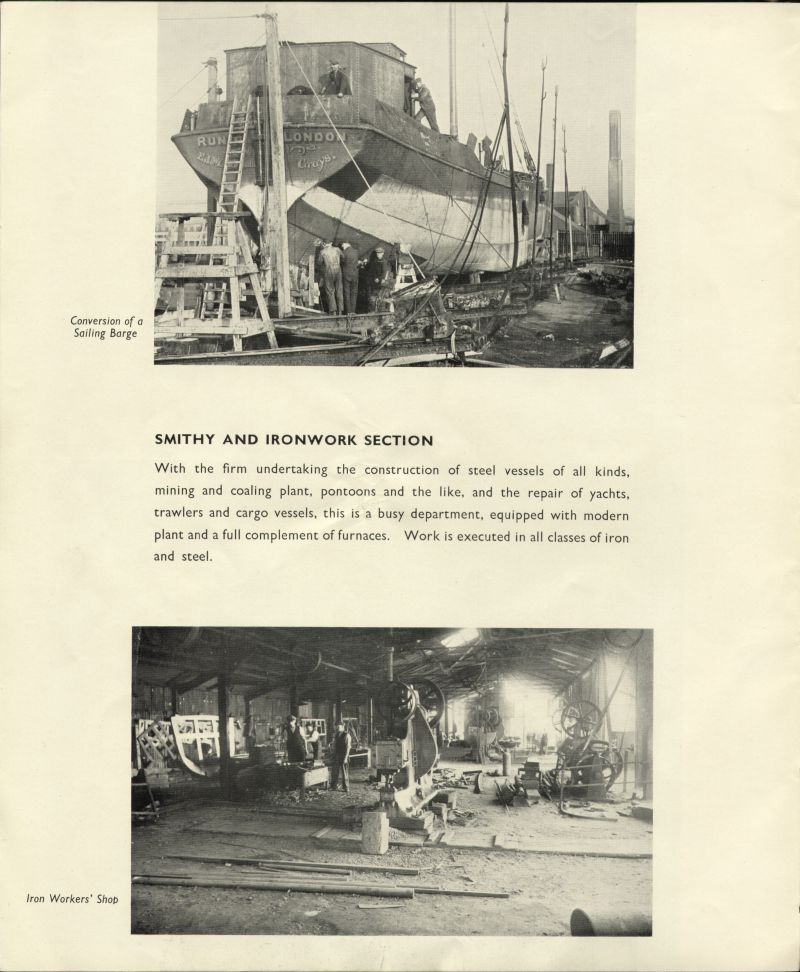 Aldous Successors Ltd catalogue - page 26. Smithy and Ironwork section. Photo of barge RUNIC being converted. Official No. 118460. 