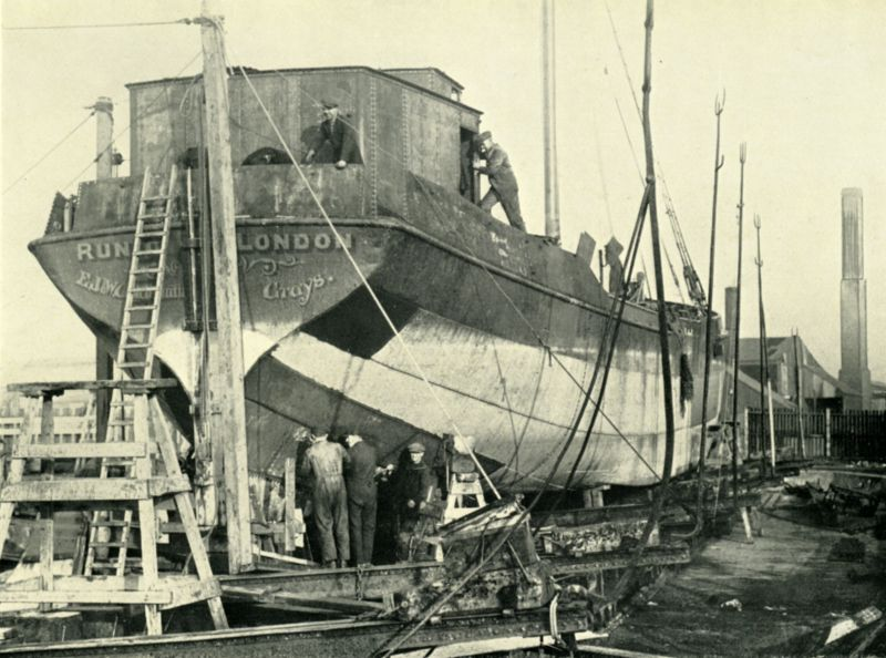 Barge RUNIC being converted at Aldous Successors, Brightlingsea. Official No. 118460, built Krimpen 1904, owned by E.J. & W. Goldsmith.