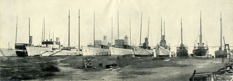 Some of Aldous's mudberths - steam yachts laid up for the winter at Brightlingsea. From the Aldous Catalogue c1936