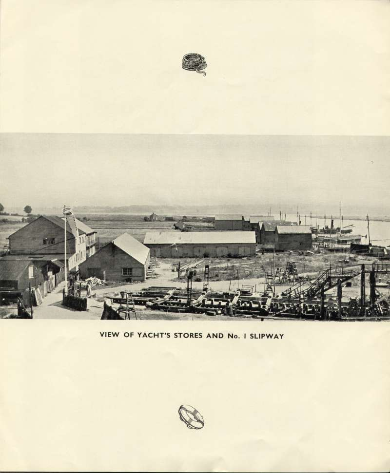 Aldous Successors Ltd. catalogue --- page 36. View of yacht's stores and No.1 slipway 