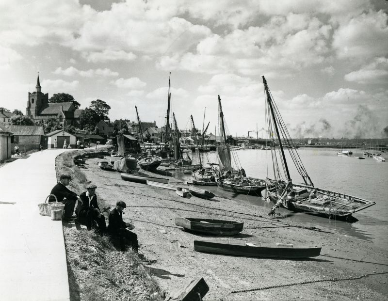 Maldon Hythe on a summer afternoon in about 1957. A glass plate by Douglas Went, used in The Sailors Coast, page 54, where John Leather writes: