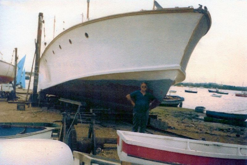 NANALOA in the 1980s undergoing 'routine maintenance' at West Mersea. After 1982 Pat Zierold kept her on a mooring in the Quarters. 