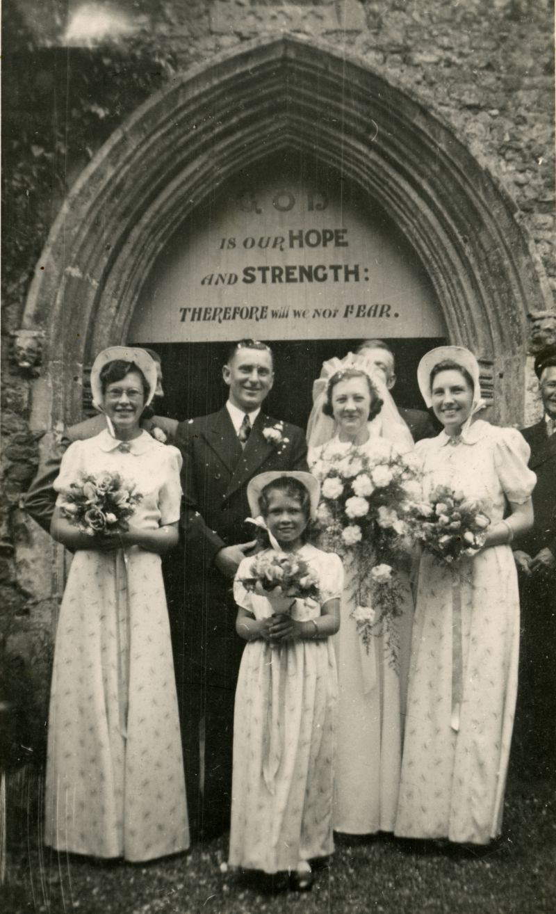 Wedding of Betty Hewes and Tom Pullen at West Mersea Parish Church. Barbara Pullen, Daphne Crick, little Joy Vince.