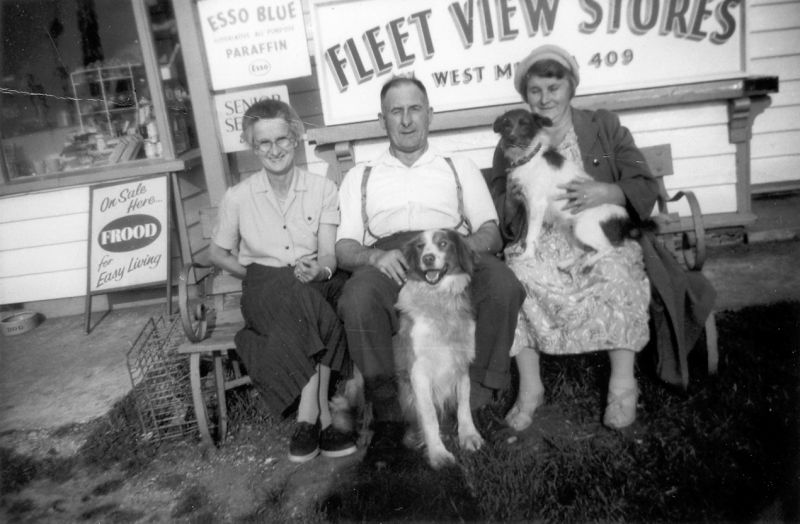 Outside Fleet View Stores. L-R Janice Tucker, Alf Parish, Mrs Howland 
