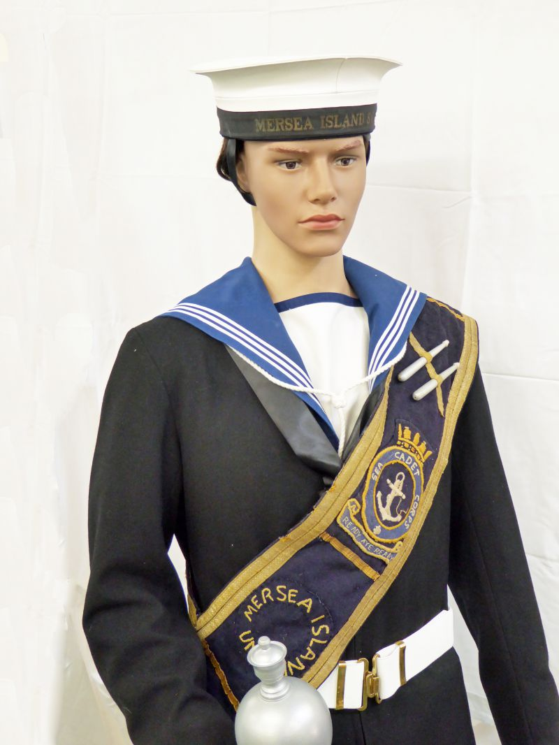 Mersea Island Sea Cadet with sash and mace.